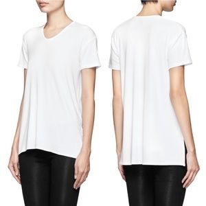 Theory Silvan V-Neck Jersey Slit White Tee Top
